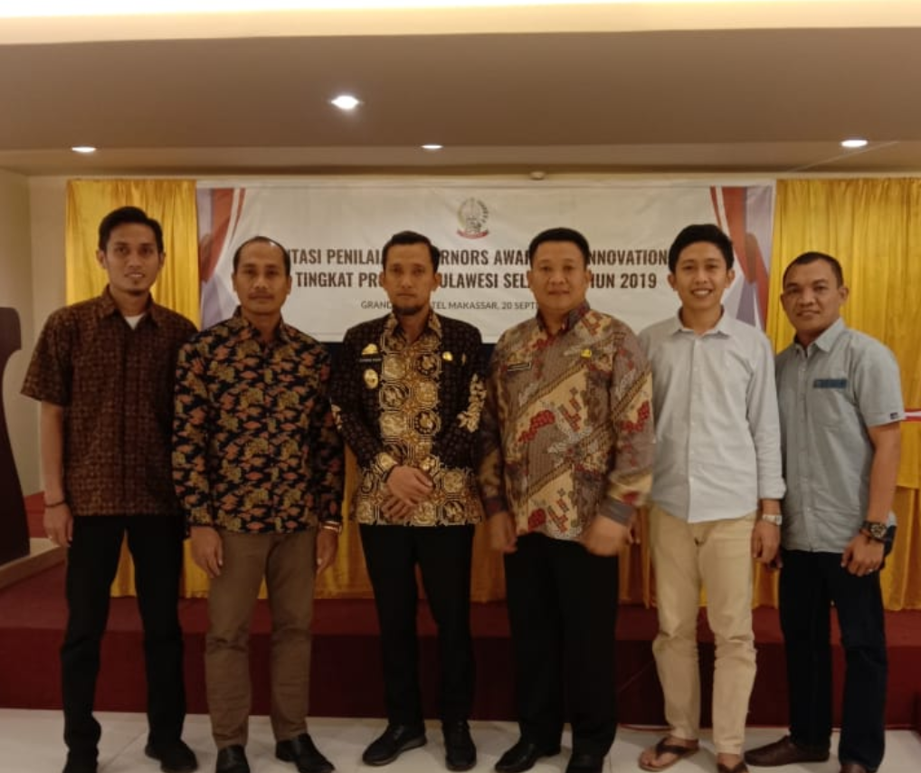 Tim inovasi JEKA DATA CENTER Diskominfo Jeneponto bersama Wakil Bupati Jeneponto pada penilaian GAFI Tingkat Prov. SUL-SEL (Makassar, 20/09/2019 )