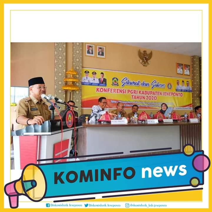 Bupati Jeneponto, Iksan Iskandar, membuka secara resmi konferensi PGRI Jeneponto tahun 2020, Selasa, 28 Januari 2020.