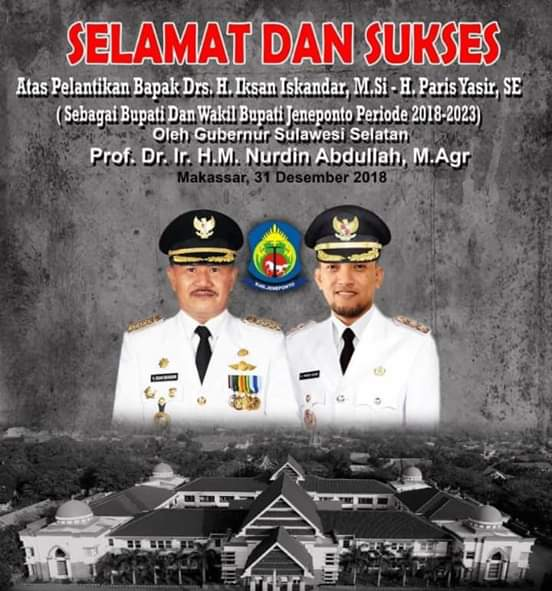 Selamat dan Sukses, atas pelantikan Drs. H. Iksan Iskandar, M. Si dan H. Paris Yaris, SE